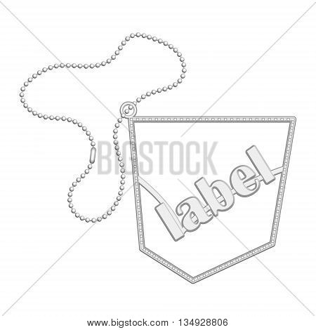 Vector store metal label with metal chain
