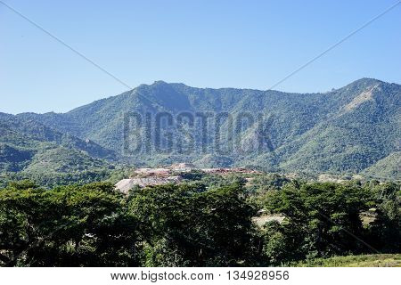 Mountains around El Cobre Mine Santiago De Cuba. oldest copper mine in Latin America tourist attraction