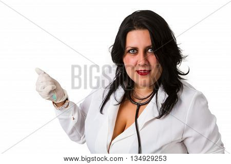 Portrait of a young female doctor on a white background