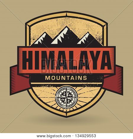 Stamp or vintage emblem with text Himalaya Mountains, vector illustration