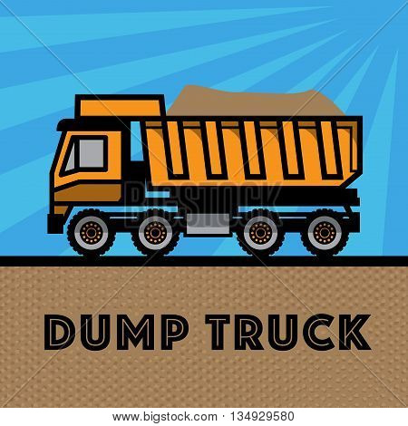Dump truck on blue background, vector illustration