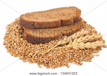 slices of bread and an ear of wheat