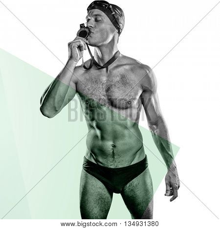 Swimmer kissing his gold medal against blue colors