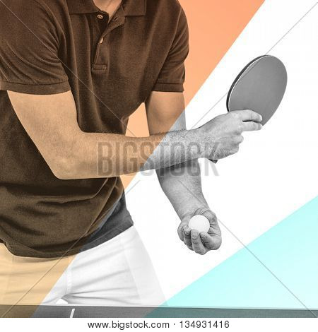 Mid section of athlete man playing table tennis against yellow and blue