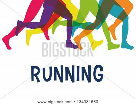Running represented by legs of side figure design over isolated and flat illustration