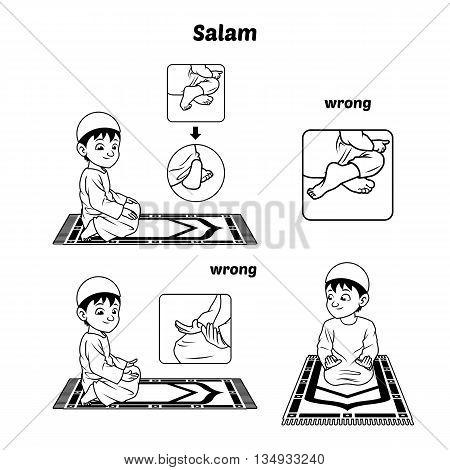 Muslim Prayer Position Guide Step by Step Perform by Boy Salutation and Position of The Feet with Wrong Position Outline Version Vector Illustration