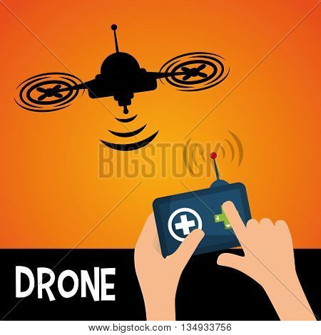Technology represented by helicopter drone with control design,  flat illustration
