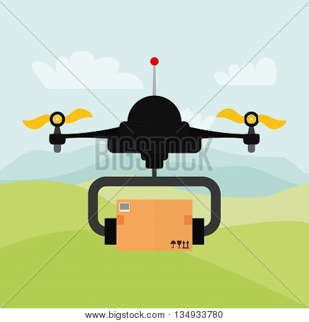 Technology represented by helicopter drone with package design,  flat illustration