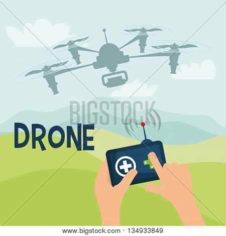 Technology represented by helicopter drone over sky design,  flat illustration