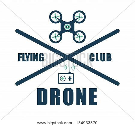 Technology represented by helicopter drone club design,  flat illustration