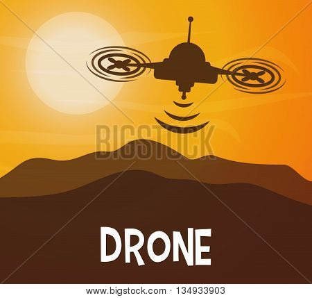 Technology represented by helicopter drone over landscape design,  flat illustration