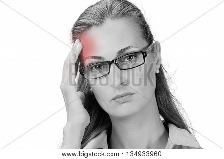 Sick woman with headache migraine stress negative feeling white isolated background