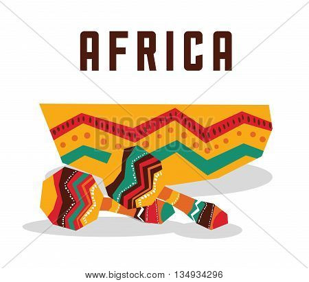 Africa represented by his instrument design over isolated and flat illustration