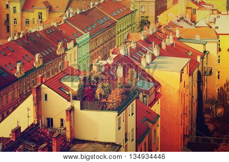 View to the colorful roofs and houses of Vysegrad in Prague, Czech Republic at autumn with garden, travel seasonal vintage hipster background