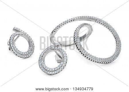 Unusual Shape Silver Ring And Pair Stud Earrings With Diamonds