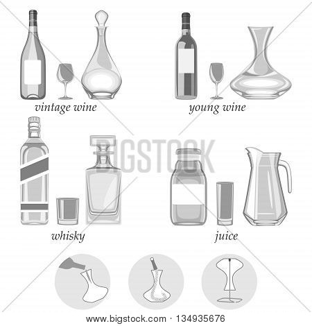 vector illustration. decanters-their types purpose and way of caring for them.