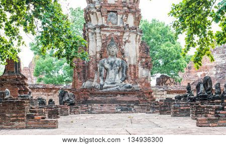 Old buddha in temple ayutthaya province Thailand.