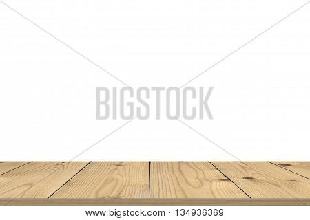 Empty wooden table for product placement or montage with focus to the table top in the foreground with white background.