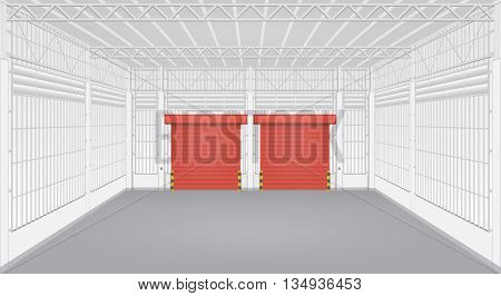 Interior of factory or warehouse with shutter door.