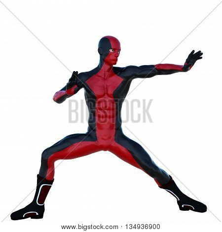 young strong man in a red and black super suit. Stands in a fighting pose. 3D rendering, 3D illustration