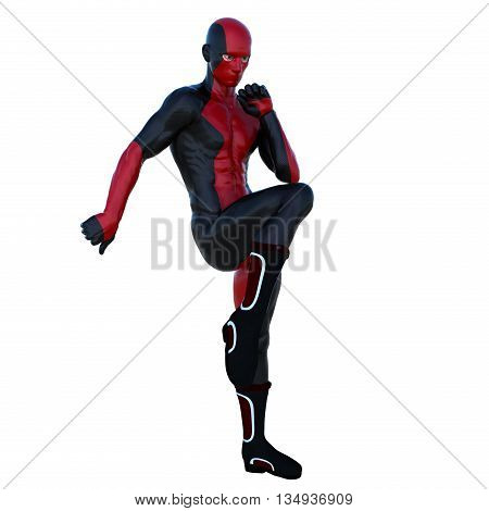 a young strong man in a red and black super suit. Doing the exercises standing. 3D rendering, 3D illustration
