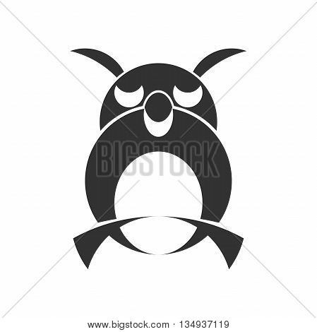 Owl monochrome silhouette. Monochrome hand drawn logotype of pointing eagle owl on white background. Easy editable. Vector concept design which can be used on print cover or tattoo design.