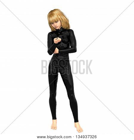 one teenage girl in a black super suit. Examines her nails on her right hand. 3D rendering, 3D illustration