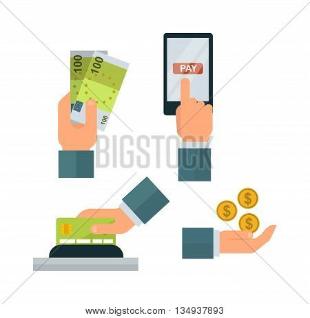 Hand with money isolated on white background. Currency banking cash wealth success pay money hands. Bank payment investment paying vector give money hands. Businessman exchange savings.