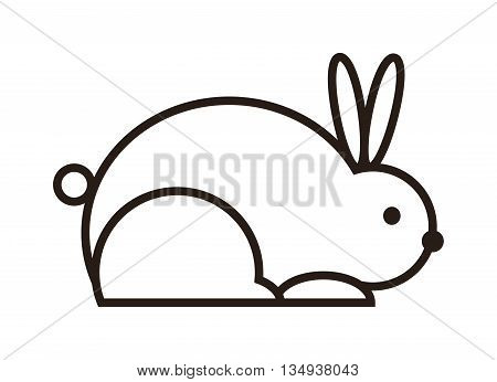 Rabbit icon silhouettes on white background. Farm cute rabbit icon silhouette nature. Rabbit icon animal cute happy black symbol. Domestic outline funny bunny vector illustration.
