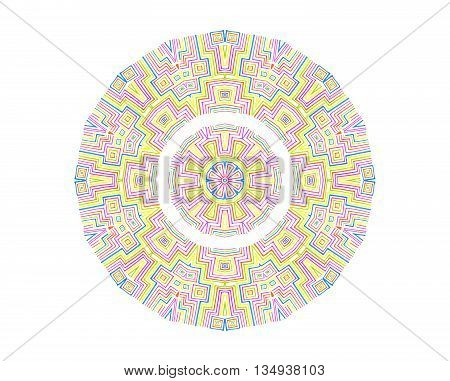 Abstract colorful concentric pattern on white background