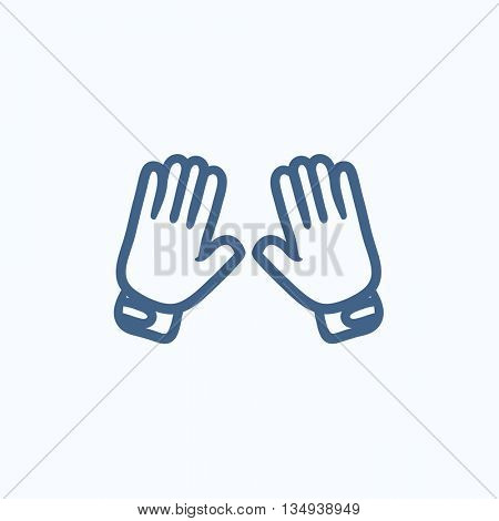 Motorcycle gloves vector sketch icon isolated on background. Hand drawn Motorcycle gloves icon. Motorcycle gloves sketch icon for infographic, website or app.