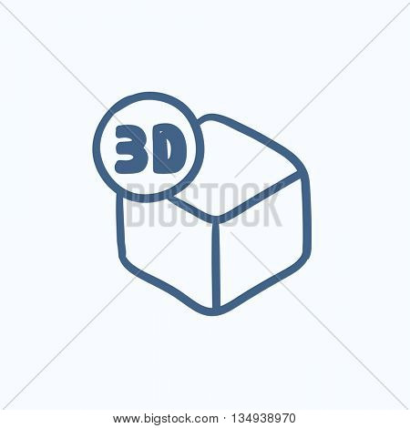Three D box vector sketch icon isolated on background. Hand drawn Three D box icon. Three D box sketch icon for infographic, website or app.