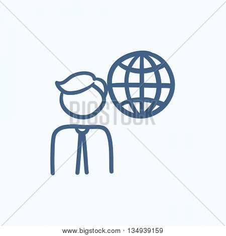 Man with globe vector sketch icon isolated on background. Hand drawn Man with globe icon. Man with globe sketch icon for infographic, website or app.