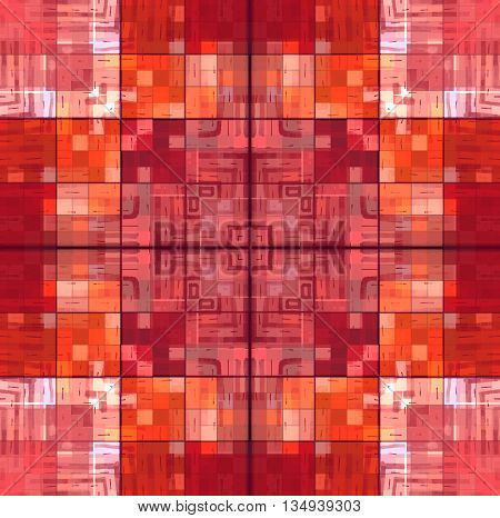 Illustration with abstract bright red square mosaic pattern