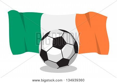 Football or soccer ball with irish flag on white background. World cup. Cartoon ball. Concept of championship, league, team sport. Game for kids and adults. Cheering and sport fans concept.