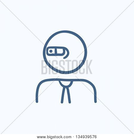 Man in augmented reality glasses vector sketch icon isolated on background. Hand drawn Man in augmented reality glasses icon. Man in glasses sketch icon for infographic, website or app.