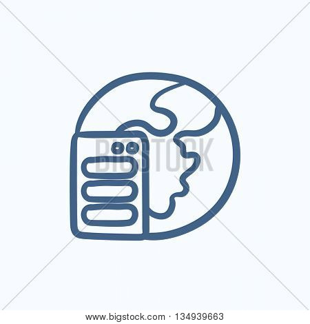 Server and globe vector sketch icon isolated on background. Hand drawn Server and globe icon. Server and globe sketch icon for infographic, website or app.