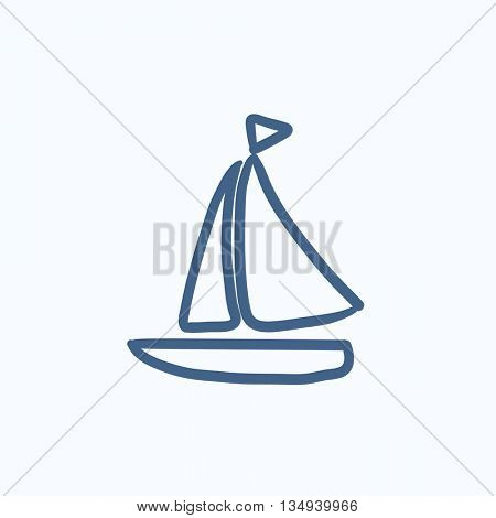Sailboat vector sketch icon isolated on background. Hand drawn Sailboat icon. Sailboat sketch icon for infographic, website or app.