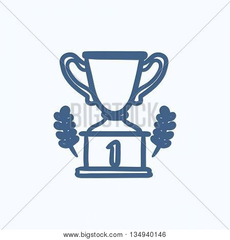 Trophy vector sketch icon isolated on background. Hand drawn Trophy icon. Trophy sketch icon for infographic, website or app.