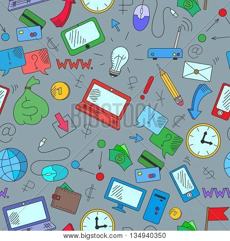 Seamless background on a theme business on the Internet and information technology the colored icons on grey background