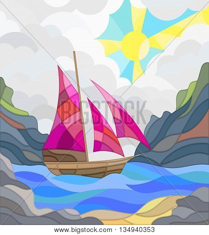 Illustration in stained glass style with sailboats against the sky the sea and the sunrise
