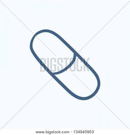 Capsule pill vector sketch icon isolated on background. Hand drawn Capsule pill icon. Capsule pill sketch icon for infographic, website or app.