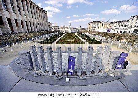 BRUSSELS BELGIUM - MARCH 16: People visit the Kunstberg garden or Mont des Artes garden on March 16 2016 in Brussels.