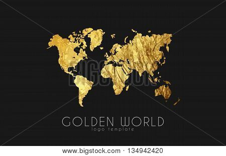 golden world map. world logo design. creative world logo