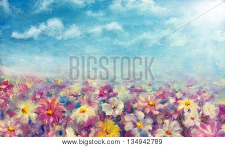 Flowers field at sunrise. Flower oil painting background. Landscape of multicolored flowers. Impressionist oil painting flowers.