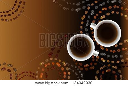 Horizontal coffee design with circles coffee beans texture, two cups of coffee. Coffee time banner design for coffee shop, restaurant menu, cafeteria. Vector background.