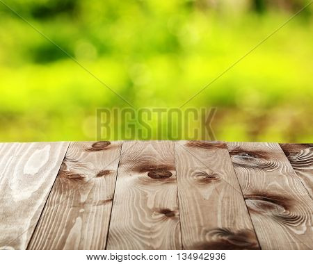 Background with wooden table, on close up