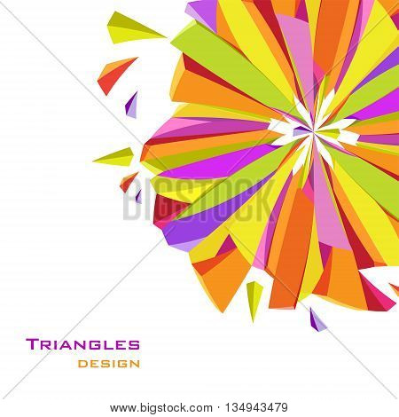 Abstract geometric background. Colorful shape with triangles, geometric shapes design. Orange, yellow, green, purple geometric abstract triangles design in white background. Vector illustration.