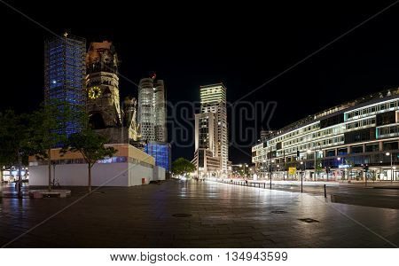 BERLIN, GERMANY - MAY 12, 2016: the Breitscheidplatz in Berlin city center with its landmark, the Memorial Church at night