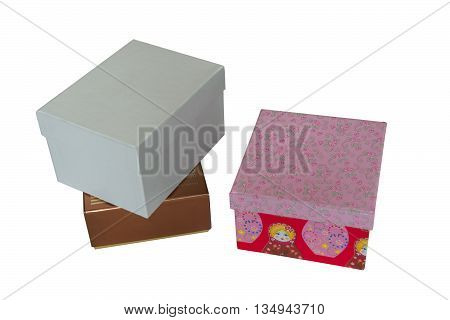 Three boxes of a different color and size